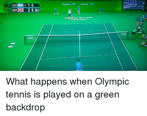 Funny, Giant, and Tennis: GBRA 2 6 AD  MURRAY Andy What happens when Olympic tennis is played on a green backdrop