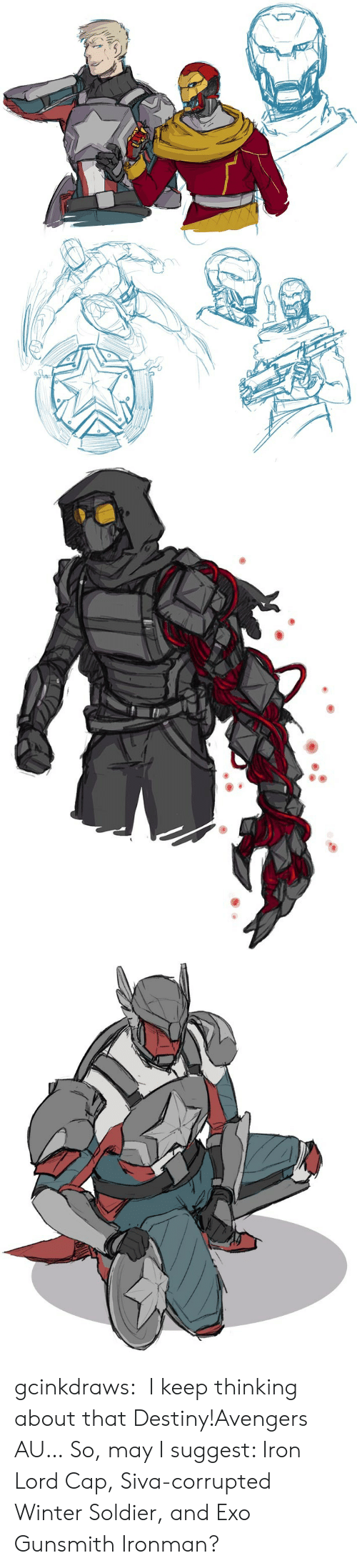 Destiny, Tumblr, and Winter: gcinkdraws:   I keep thinking about that Destiny!Avengers AU… So, may I suggest: Iron Lord Cap, Siva-corrupted Winter Soldier, and Exo Gunsmith Ironman?