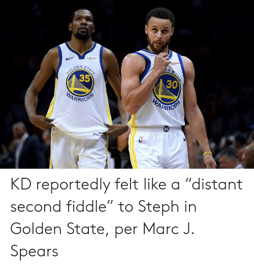 "Steph: ge  uten  EN S  STATE  GOLD  35  DEN  30  WARRION  PARIORS KD reportedly felt like a ""distant second fiddle"" to Steph in Golden State, per Marc J. Spears"