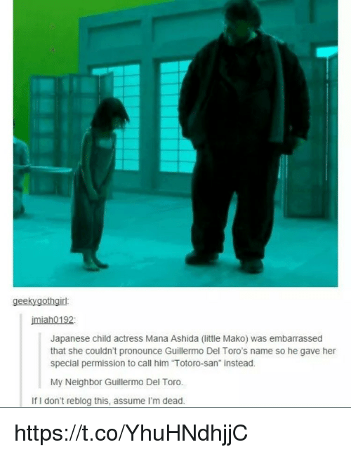 "Memes, Japanese, and Guillermo Del Toro: geekyaothairl  imiah0192  Japanese child actress Mana Ashida (little Mako) was embarrassed  that she couldn't pronounce Guillermo Del Toro's name so he gave her  special permission to call him ""Totoro-san"" instead.  My Neighbor Guillermo Del Toro.  If I don't reblog this, assume I'm dead https://t.co/YhuHNdhjjC"