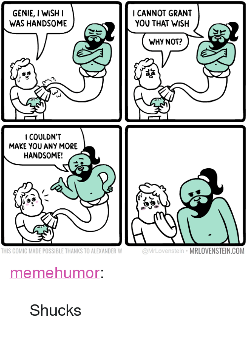 "shucks: GENIE, I WISH  WAS HANDSOME  ICANNOT GRANT  YOU THAT WISH  WHY NOT?  旞  COULDN'T  MAKE YOU ANY MORE  HANDSOME!  THIS COMIC MADE POSSIBLE THANKS TO ALEXANDER W  @MrLovenstein MRLOVENSTEIN.COM <p><a href=""http://memehumor.net/post/165642255363/shucks"" class=""tumblr_blog"">memehumor</a>:</p>  <blockquote><p>Shucks</p></blockquote>"