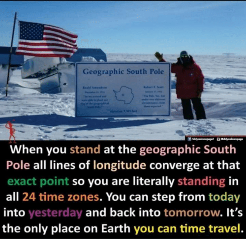 literally: Geographic South Pole  Rabert F. Soalt  Resd Amundaen  Fevai  The Falo Yos. e  seama Inom  ther ptd  olevation 9 Ml fet  When you stand at the geographic South  Pole all lines of longitude converge at that  exact point so you are literally standing in  all 24 time zones. You can step from today  into yesterday and back into tomorrow. It's  the only place on Earth you can time travel.