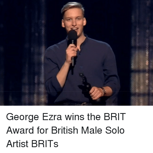Memes, British, and Artist: George Ezra wins the BRIT Award for British Male Solo Artist BRITs