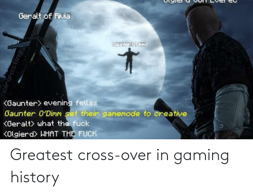 what the: Geralt of Rivia  Baunter 0'Dirm  <Gaunter> evening fellas  Gaunter 0'Dimm set their gamemode to creative  KGeralt> what the fuck  KOlgierd> WHAT THE FUCK  ciriposting Greatest cross-over in gaming history