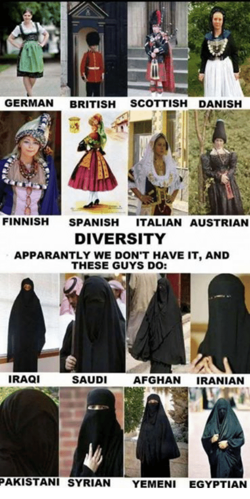 Memes, Spanish, and Afghan: GERMAN BRITISH SCOTTISH DANISH  FINNISH SPANISH ITALIAN AUSTRIAN  DIVERSITY  APPARANTLY WE DON'T HAVE IT, AND  THESE GUYS DO:  IRAQI  SAUDI  AFGHAN IRANIAN  PAKISTANI SYRIAN YEMENI EGYPTIAN