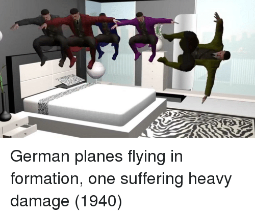Formation, Suffering, and Planes: German planes flying in formation, one suffering heavy damage (1940)