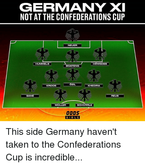 Memes, Taken, and Bible: GERMANY XI  NOT AT THE CONFEDERATIONS CUP  NEUER  HUMMELS  HOWEDES  BOATENG  OZIL  KROOS  KHEDIRA  REUS  MOLLER  SCHORRLE  ODDS  BIBLE  BIBL E This side Germany haven't taken to the Confederations Cup is incredible...