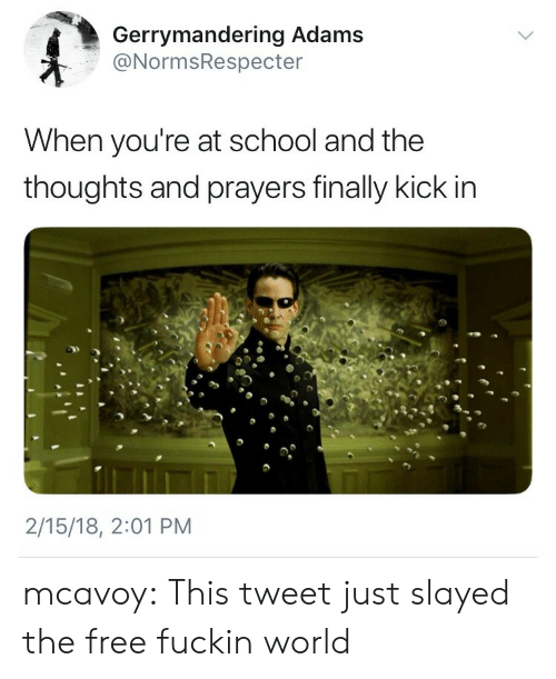 School, Target, and Tumblr: Gerrymandering Adams  @NormsRespecter  When you're at school and the  thoughts and prayers finally kick in  2/15/18, 2:01 PM mcavoy:  This tweet just slayed the free fuckin world