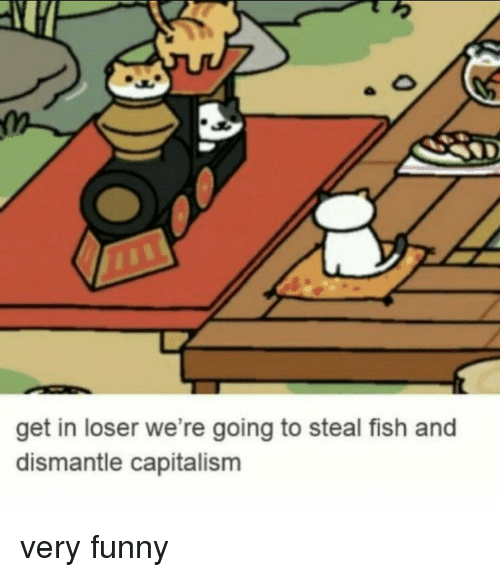 Funny, Fish, and Get: get in loser we're going to steal fish and  dismantle capitalisnm very funny