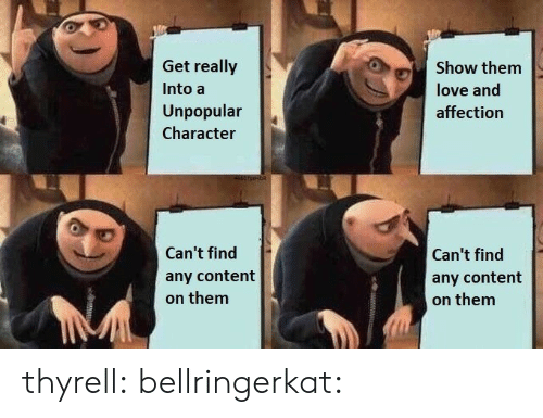 Unpopular: Get really  Show them  Into a  love and  Unpopular  affection  Character  Can't find  Can't find  any content  any content  on them  on them  wwwww thyrell:  bellringerkat: