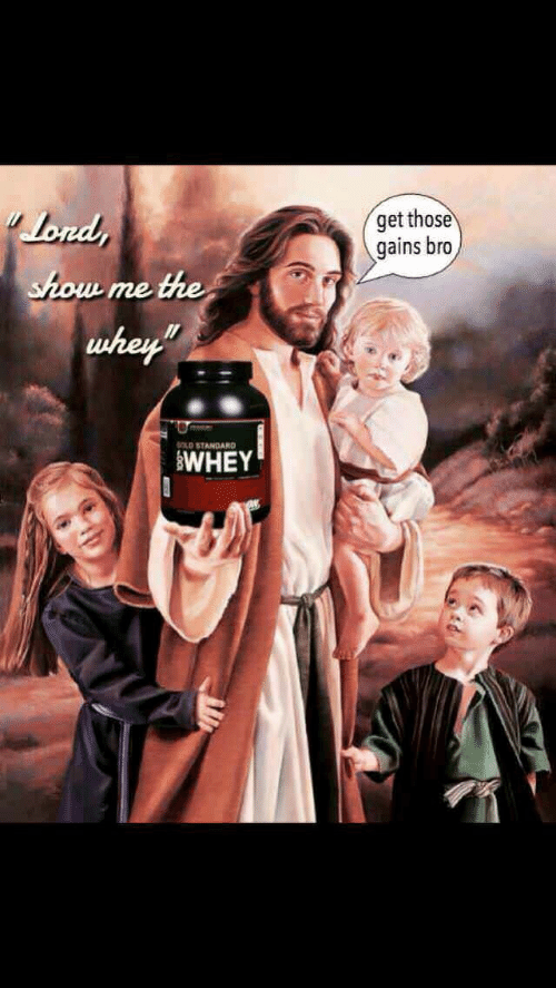 "Old, Whey, and Show: get those  gains bro  Lond  the  show  me  whey""  OLD STANDARD  WHEY"