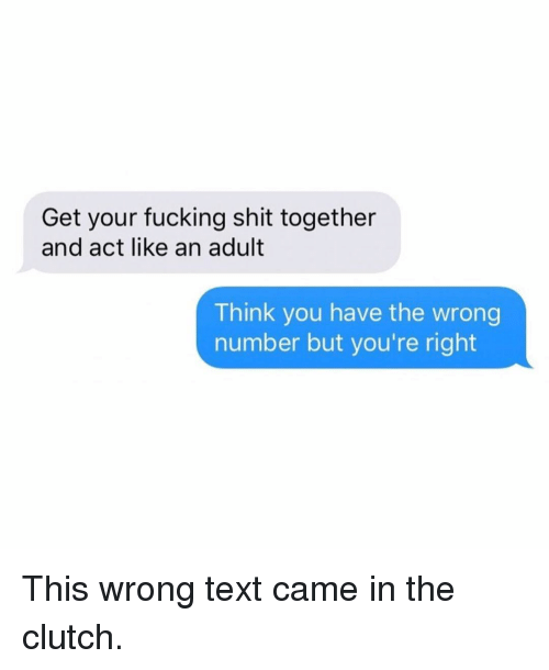 You Have The Wrong Number: Get your fucking shit together  and act like an adult  Think you have the wrong  number but you're right This wrong text came in the clutch.