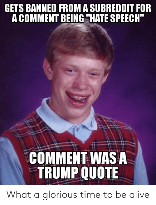 """Alive, Time, and Trump: GETS BANNED FROM A SUBREDDIT FOR  A COMMENT BEING """"HATE SPEECH""""  COMMENT WASA  TRUMP QUOTE What a glorious time to be alive"""