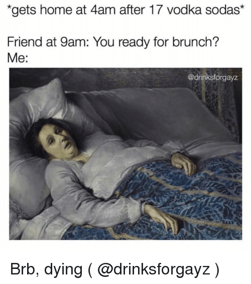 Home, Vodka, and Girl Memes: gets home at 4am after 17 vodka sodas*  Friend at 9am: You ready for brunch?  Me:  @drinksforgayz Brb, dying ( @drinksforgayz )