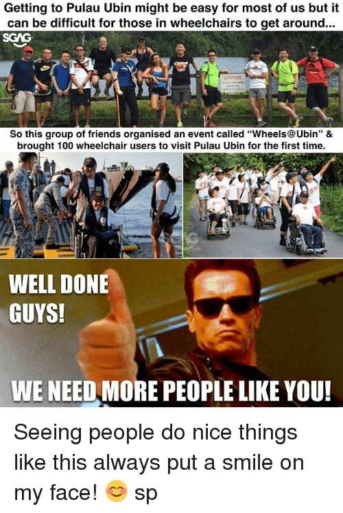 """Anaconda, Friends, and Memes: Getting to Pulau Ubin might be easy for most of us but it  can be difficult for those in wheelchairs to get around..  SGAG  So this group of friends organised an event called """"Wheels@Ubin"""" &  brought 100 wheelchair users to visit Pulau Ubin for the first time.  WELL DONE  GUYS!  WE NEED MORE PEOPLE LIKE YOU Seeing people do nice things like this <link in bio> always put a smile on my face! 😊 sp"""