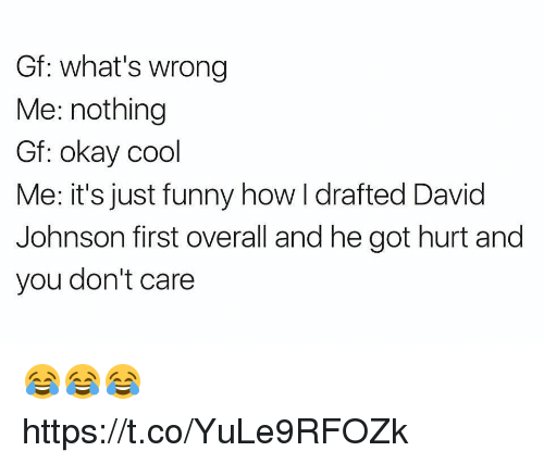 donte: Gf: what's wrong  Me: nothing  Gf: okay cool  Me: it's just funny how I drafted David  Johnson first overall and he got hurt and  you don't care 😂😂😂 https://t.co/YuLe9RFOZk