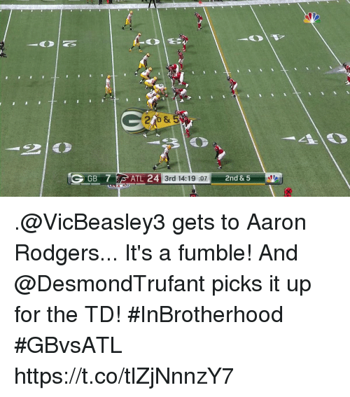 Aaron Rodgers, Memes, and 🤖: GGB  24 3rd 14:19 :072nd & 5  3rd 14:19 :07 .@VicBeasley3 gets to Aaron Rodgers... It's a fumble!  And @DesmondTrufant picks it up for the TD! #InBrotherhood #GBvsATL https://t.co/tlZjNnnzY7
