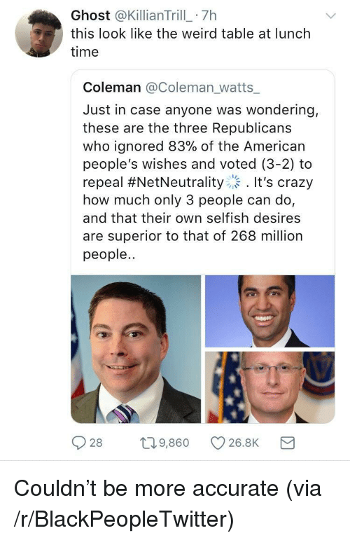 Blackpeopletwitter, Crazy, and Weird: Ghost @KillianTrill 7h  this look like the weird table at lunch  time  Coleman @Coleman_watts  Just in case anyone was wondering,  these are the three Republicans  who ignored 83% of the American  people's wishes and voted (3-2) to  repeal #NetNeutrality :. It's crazy  how much only 3 people can do,  and that their own selfish desires  are superior to that of 268 million  people..  28 9,860 C 26.8K <p>Couldn't be more accurate (via /r/BlackPeopleTwitter)</p>
