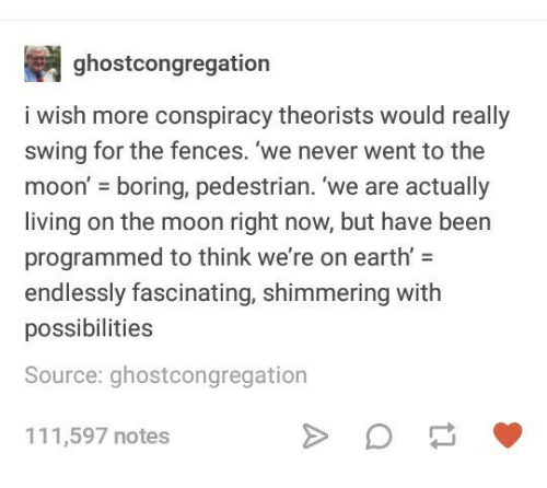 Earth, Moon, and Humans of Tumblr: ghostcongregation  i wish more conspiracy theorists would really  swing for the fences. we never went to the  moon' boring, pedestrian. 'we are actually  living on the moon right now, but have been  programmed to think we're on earth-  endlessly fascinating, shimmering with  possibilities  Source: ghostcongregation  111,597 notes