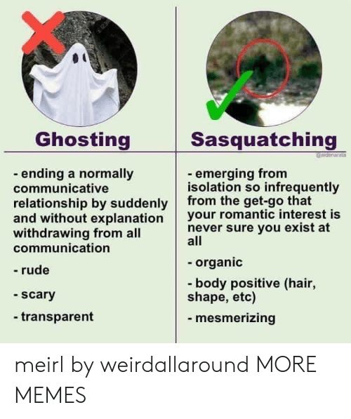 Dank, Memes, and Rude: Ghosting  Sasquatching  aidenaratn  - ending a normally  communicative  relationship by suddenly from the  and without explanation your romantic interest is  withdrawing from all  communication  - emerging from  isolation so infrequently  get-go that  never sure you exist at  all  organic  - rude  -body positive (hair,  shape, etc)  scary  - transparent  mesmerizing meirl by weirdallaround MORE MEMES