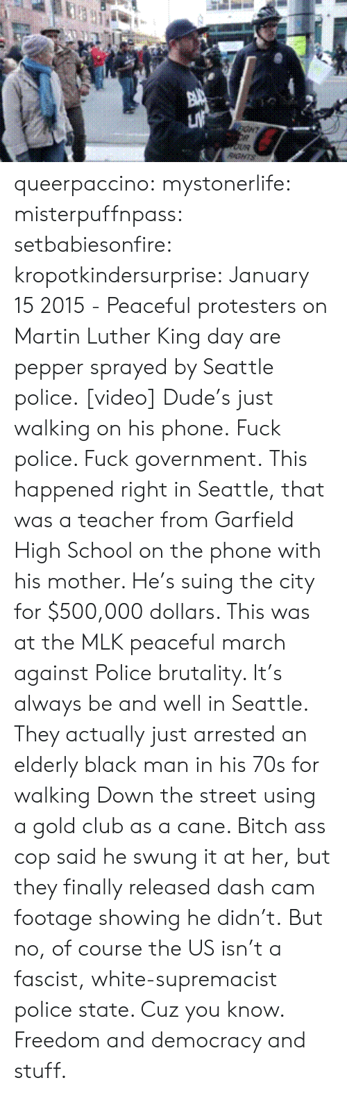 Ght: GHT  RGNTS queerpaccino: mystonerlife:  misterpuffnpass:  setbabiesonfire:  kropotkindersurprise: January 15 2015 - Peaceful protesters on Martin Luther King day are pepper sprayed by Seattle police. [video] Dude's just walking on his phone.  Fuck police. Fuck government.  This happened right in Seattle, that was a teacher from Garfield High School on the phone with his mother. He's suing the city for $500,000 dollars. This was at the MLK peaceful march against Police brutality. It's always be and well in Seattle. They actually just arrested an elderly black man in his 70s for walking Down the street using a gold club as a cane. Bitch ass cop said he swung it at her, but they finally released dash cam footage showing he didn't.  But no, of course the US isn't a fascist, white-supremacist police state. Cuz you know. Freedom and democracy and stuff.