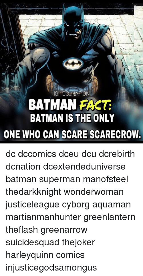 Batman, Memes, and Scare: GI DC NATION  BATMAN FACT  BATMAN IS THE ONLY  ONE WHO CAN SCARE SCARECROW. dc dccomics dceu dcu dcrebirth dcnation dcextendeduniverse batman superman manofsteel thedarkknight wonderwoman justiceleague cyborg aquaman martianmanhunter greenlantern theflash greenarrow suicidesquad thejoker harleyquinn comics injusticegodsamongus