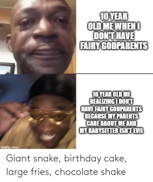Cake: Giant snake, birthday cake, large fries, chocolate shake
