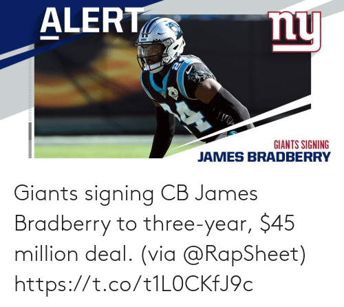 james: Giants signing CB James Bradberry to three-year, $45 million deal. (via @RapSheet) https://t.co/t1L0CKfJ9c