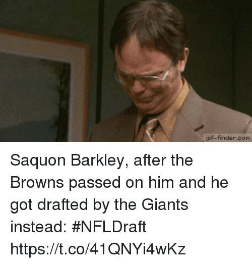 Gif, Sports, and Browns: gif-finder.com Saquon Barkley, after the Browns passed on him and he got drafted by the Giants instead: #NFLDraft https://t.co/41QNYi4wKz
