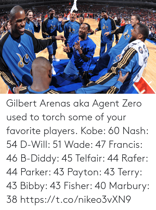 torch: Gilbert Arenas aka Agent Zero used to torch some of your favorite players.  Kobe: 60 Nash: 54 D-Will: 51 Wade: 47 Francis: 46 B-Diddy: 45 Telfair: 44 Rafer: 44 Parker: 43 Payton: 43 Terry: 43 Bibby: 43 Fisher: 40 Marbury: 38   https://t.co/nikeo3vXN9