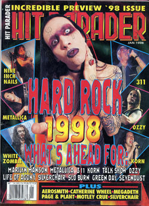 Aerosmith, Life, and Green Day: GINCREDIBLE PREVIEW 98 ISSUE  INCH  HAILS  HARD ROCK  SAHEAD FOR  311  METALICA  OZZY  WHIT  ZOMB  MARISH HANSON HETALC KORH ALK SHO 0Z2Y  LIFE OE UNY SILPERCHATR SIO BURN GREEN DAY SEVENDUST  PLUS  AEROSMITH CATHERINE WHEEL MECADETH  PAGE & PLANT MOTLEY CRUE SILVERCHAIR