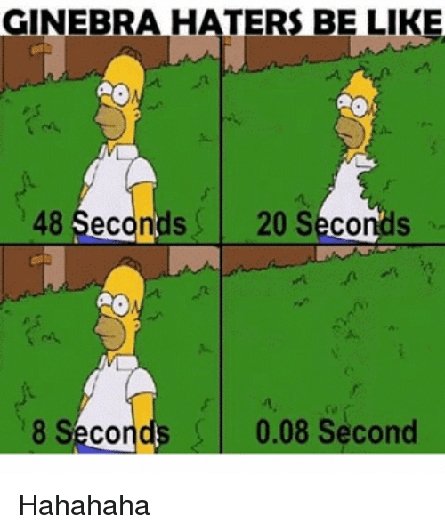 Haters Be Like: GINEBRA HATERS BE LIKE  48 Seconds 20 Seconds  8 Seconds 0.08 Second Hahahaha