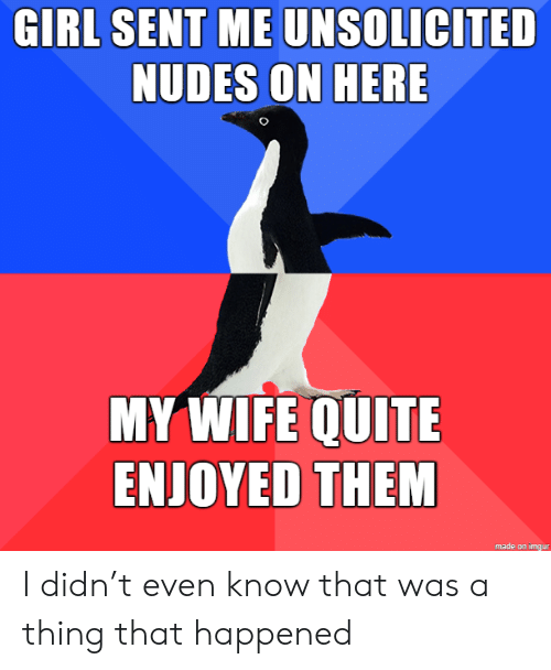 Nudes, Girl, and Imgur: GIRL SENT ME UNSOLICITED  NUDES ON HERE  MY WIFE QUITE  ENJOYED THEM  made on imgur I didn't even know that was a thing that happened