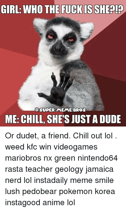 Anime, Kfc, and Memes: GIRL: WHO THE FUCK IS SHEP!P  SUPER MEME BROS  ME: CHILL, SHE'S JUSTADUDE Or dudet, a friend. Chill out lol . weed kfc win videogames mariobros nx green nintendo64 rasta teacher geology jamaica nerd lol instadaily meme smile lush pedobear pokemon korea instagood anime lol