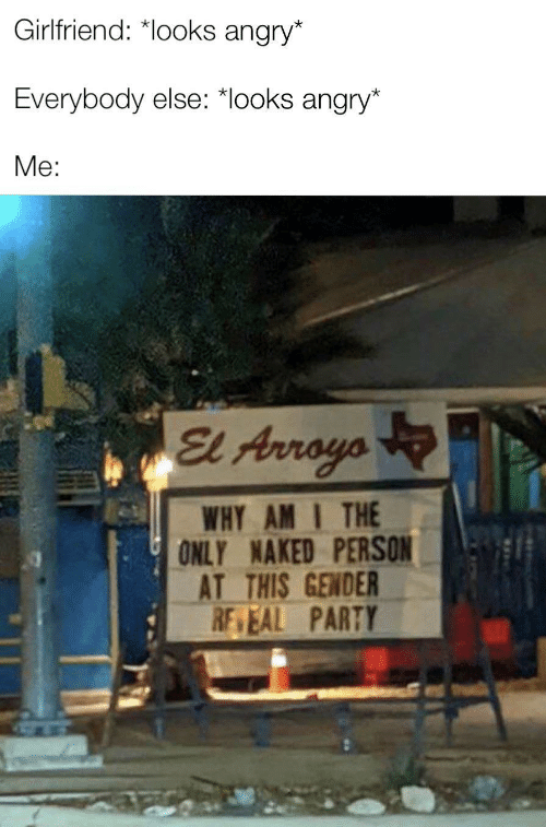 Why Am: Girlfriend: *looks angry*  Everybody else: *looks angry*  Me:  El Arroyo  WHY AM I THE  ONLY NAKED PERSON  AT THIS GENDER  RE EAL PARTY  ULL