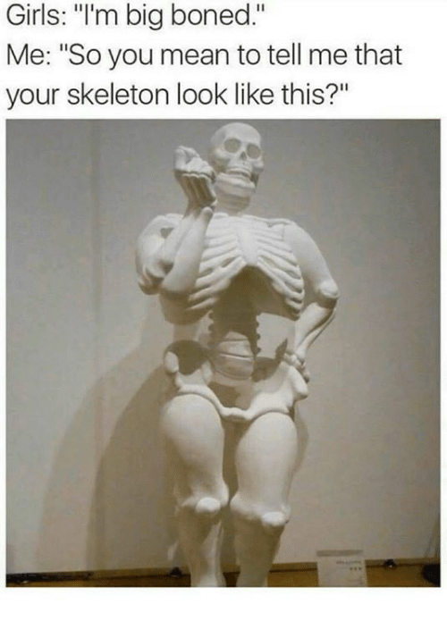"""You Mean To Tell Me: Girls: """"I'm big boned.""""  Me: """"So you mean to tell me that  your skeleton look like this?"""""""