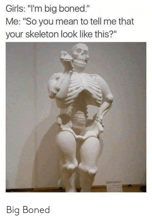 """You Mean To Tell Me: Girls: """"'m big boned.""""  Me: """"So you mean to tell me that  your skeleton look like this?"""" Big Boned"""