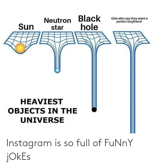 funny jokes: Girls who say they want a  perfect boyfriend  Neutron Black  hole  Sun  star  HEAVIEST  OBJECTS IN THE  UNIVERSE Instagram is so full of FuNnY jOkEs