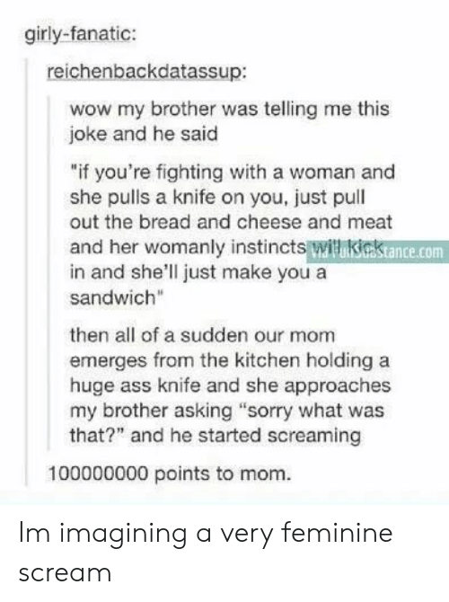 """Fanatic: girly-fanatic:  reichenbackdatassup:  wow my brother was telling me this  joke and he said  """"if you're fighting with a woman and  she pulls a knife on you, just pull  out the bread and cheese and meat  and her womanly instincts witikiestance.com  in and she'll just make you a  sandwich""""  then all of a sudden our mom  emerges from the kitchen holding a  huge ass knife and she approaches  my brother asking """"sorry what was  that?"""" and he started screaming  100000000 points to mom. Im imagining a very feminine scream"""