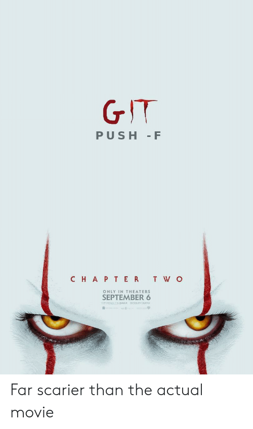 Movie, Git, and Push: GIT  PUSH F  CHAP TER T W O  ONLY IN THEATERS  SEPTEMBER 6  ENPERENCE IT INMAX  0OLY CINEMA Far scarier than the actual movie