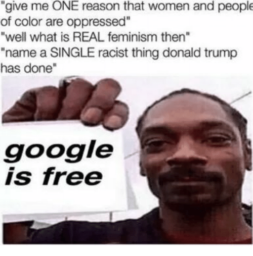 """Donald Trump, Feminism, and Google: """"give me ONE reason that women and people  of color are oppressed""""  """"well what is REAL feminism then""""  """"name a SINGLE racist thing donald trump  has done""""  google  is free"""