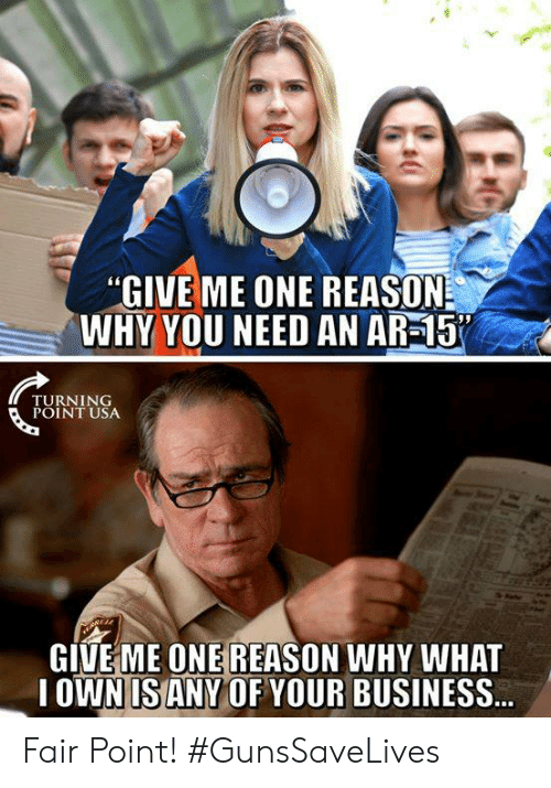 Memes, Business, and Reason: GIVE ME ONE REASON  WHY YOU NEED AN AR-15  TURNING  POINT USA  GIVEME ONE REASON WHY WHAT  OWN IS ANY OF YOUR BUSINESS Fair Point! #GunsSaveLives