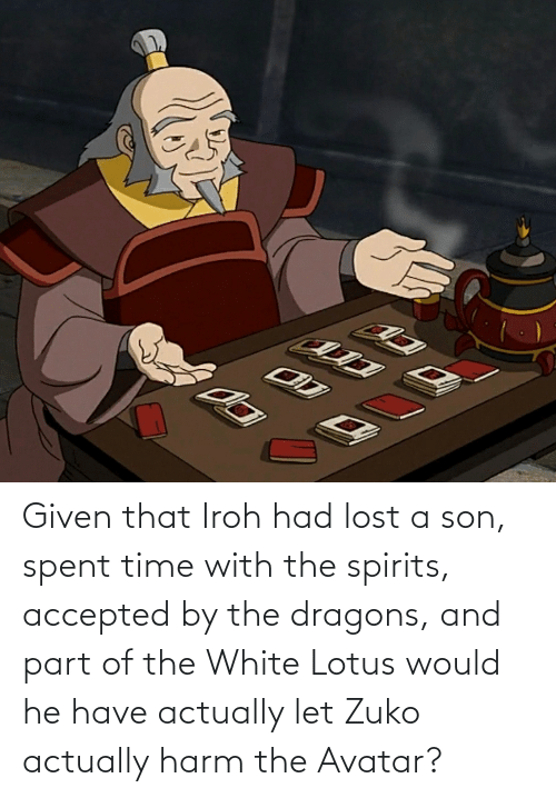 Harm: Given that Iroh had lost a son, spent time with the spirits, accepted by the dragons, and part of the White Lotus would he have actually let Zuko actually harm the Avatar?
