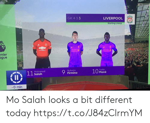 Memes, Liverpool F.C., and Today: GK 4 33  LIVERPOOL  Starting Lineup  hntii  mier  gue  Firmino  Sadio  Mané  Roberto  Mohamed  Salah  0 min Mo Salah looks a bit different today https://t.co/J84zClrmYM