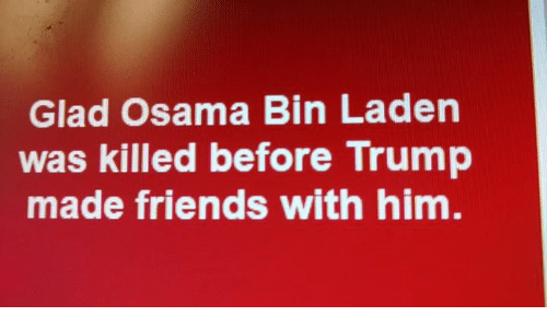 Friends, Memes, and Osama Bin Laden: Glad Osama Bin Laden  was killed before Trump  made friends with him.