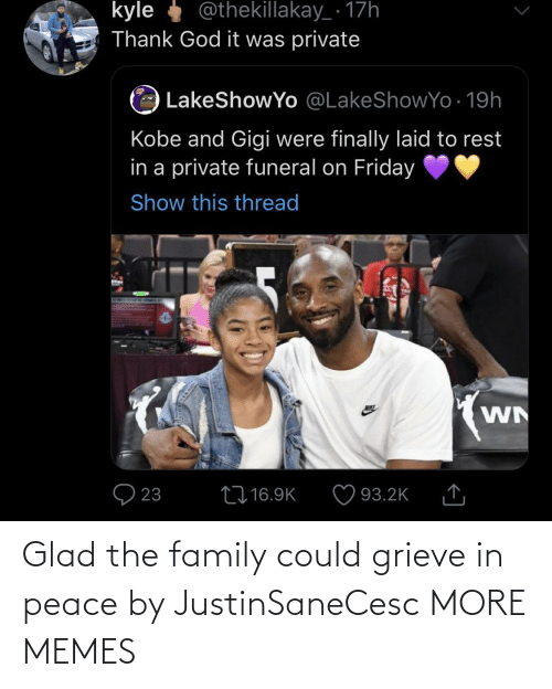 glad: Glad the family could grieve in peace by JustinSaneCesc MORE MEMES
