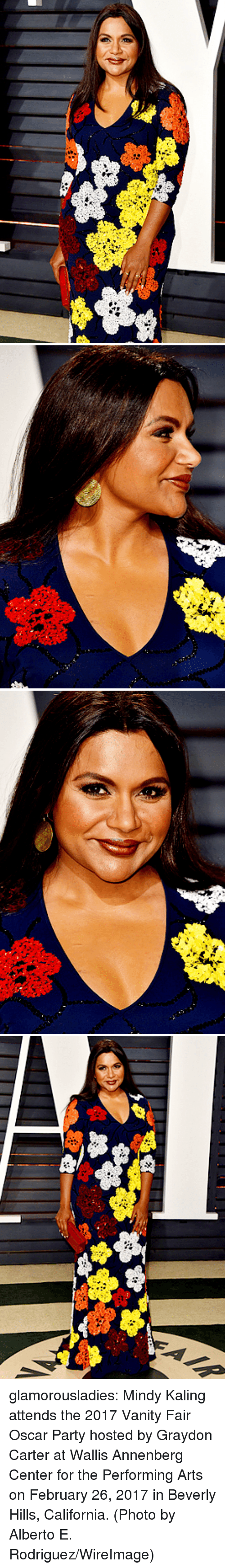 vanity fair: glamorousladies:   Mindy Kaling attends the 2017 Vanity Fair Oscar Party hosted by Graydon Carter at Wallis Annenberg Center for the Performing Arts on February 26, 2017 in Beverly Hills, California. (Photo by Alberto E. Rodriguez/WireImage)