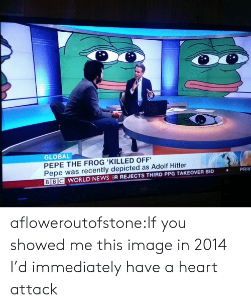 Pepe the Frog: GLOBAL  PEPE THE FROG 'KILLED OFF  Pepe was recently depicted as Adolf Hitler  BE WORLD NEWS :R REJECTS THIRD PPG TAKEOVER BID  PRIV  . afloweroutofstone:If you showed me this image in 2014 I'd immediately have a heart attack
