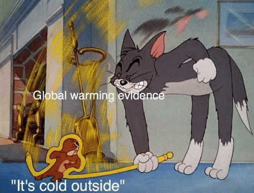 "Global warming: Global warming evidence  ""It's cold outside"""