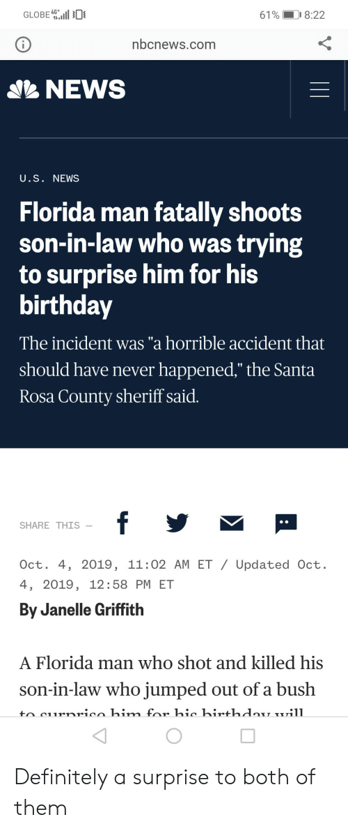 """Birthday, Definitely, and Florida Man: GLOBE  4G  D 8:22  61%  nbcnews.com  SNEWS  U.S. NEWS  Florida man fatally shoots  son-in-law who was trying  to surprise him for his  birthday  The incident was """"a horrible accident that  should have never happened,"""" the Santa  Rosa County sheriff said.  f y  SHARE THIS  Oct. 4, 2019, 11:02 AM ET / Updated Oct.  4, 2019, 12:58 PM ET  By Janelle Griffith  A Florida man who shot and killed his  son-in-law who jumped out of a bush  to curnrico him for hic hir+hdau uill Definitely a surprise to both of them"""